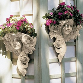 Le Printemps and Le Etoile: French Greenmen Wall Sculptures